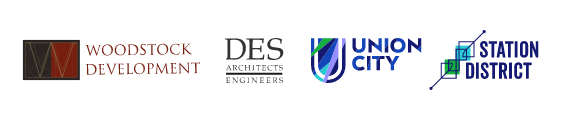Logos for Woodstock Development, DES Artictects and Engineers, Union City and Station District